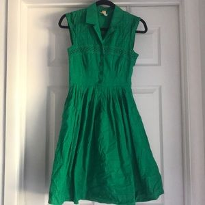 Anthropologie Sleeveless shirt dress green size 0